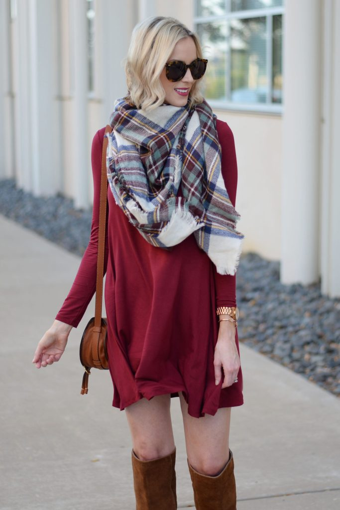 burgundy swing dress with plaid blanket scarf