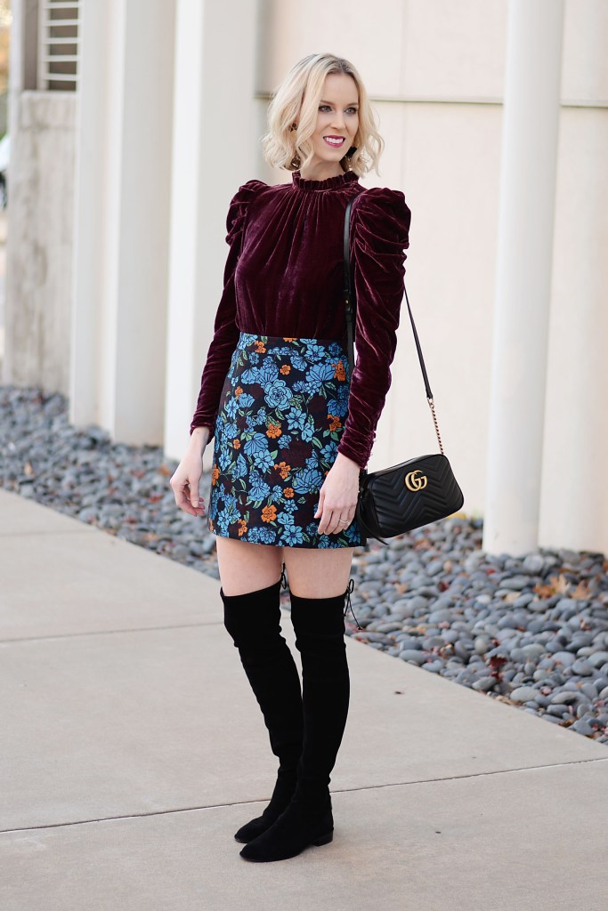 velvet top with jacquard skirt and over the knee boots
