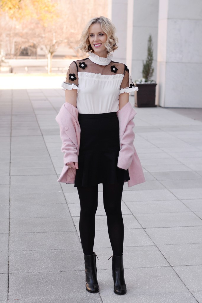 cutest flower blouse, black skirt, black tights, boots, pink coat