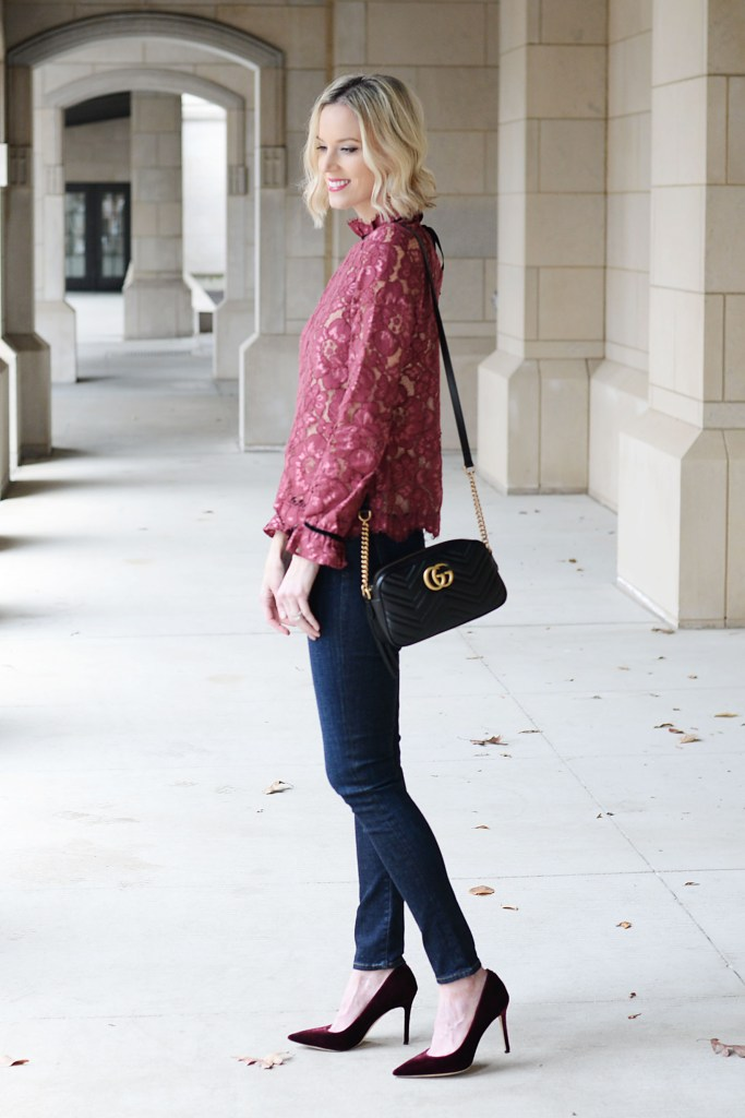 pretty lace blouse with dark skinny jeans, date night outfit idea