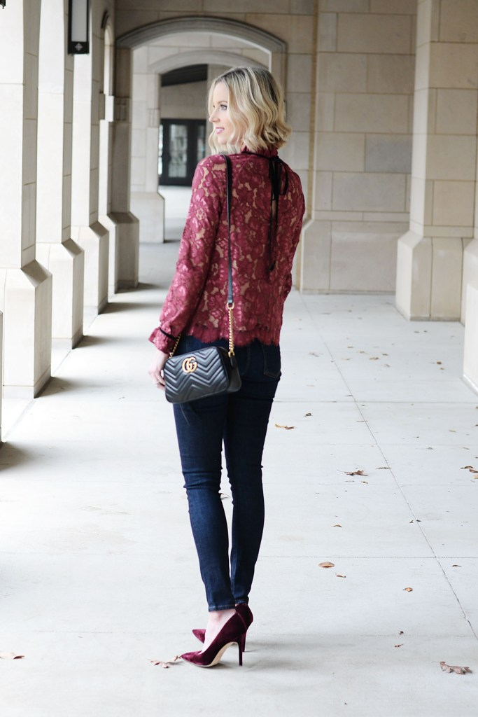 velvet tie back lace blouse, classic dark wash skinny jeans, velvet pumps, NYE casual outfit idea