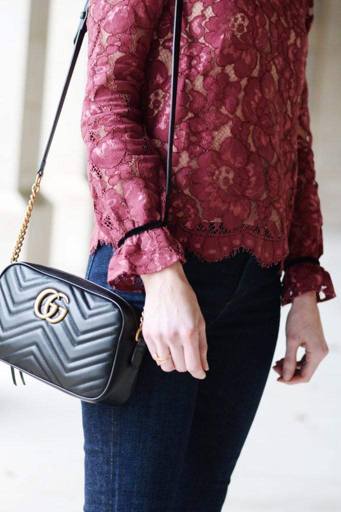 scallop hem lace blouse, black gucci bag