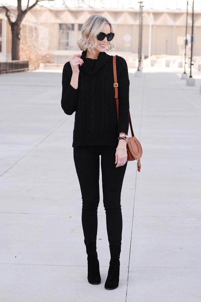 black jeans, black turtleneck sweater, tan chloe bag