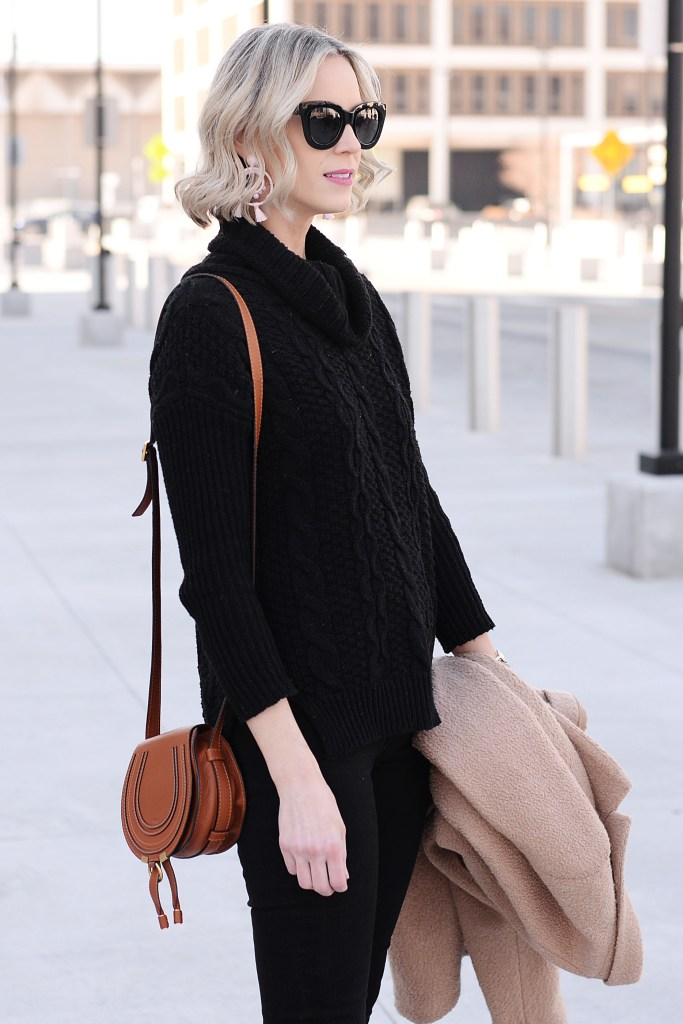 black sweater and jeans with tan coat
