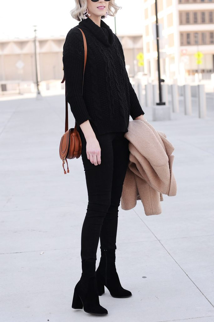 all black outfit with black sock booties - the most flattering outfit ever!