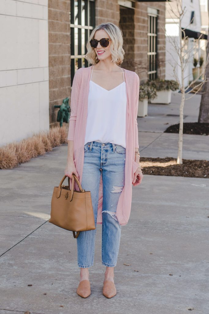 light pink duster cardigan, white camisole, light wash distressed jeans