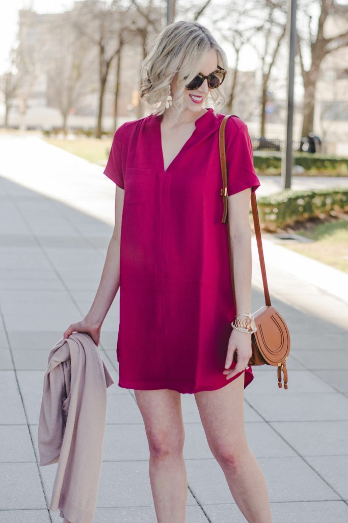 burgundy dress for spring with cardigan