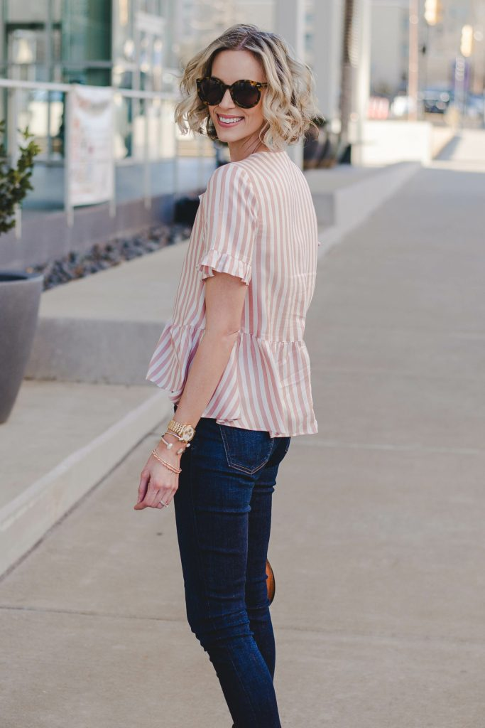 striped pink and white blouse for spring