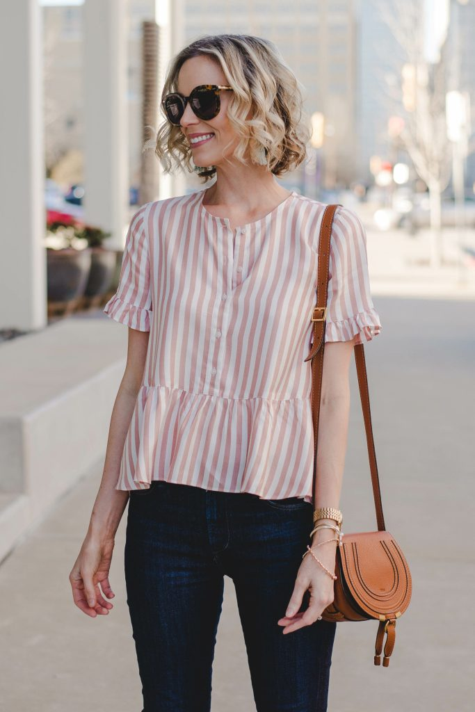 button front striped peplum blouse with dark skinny jeans