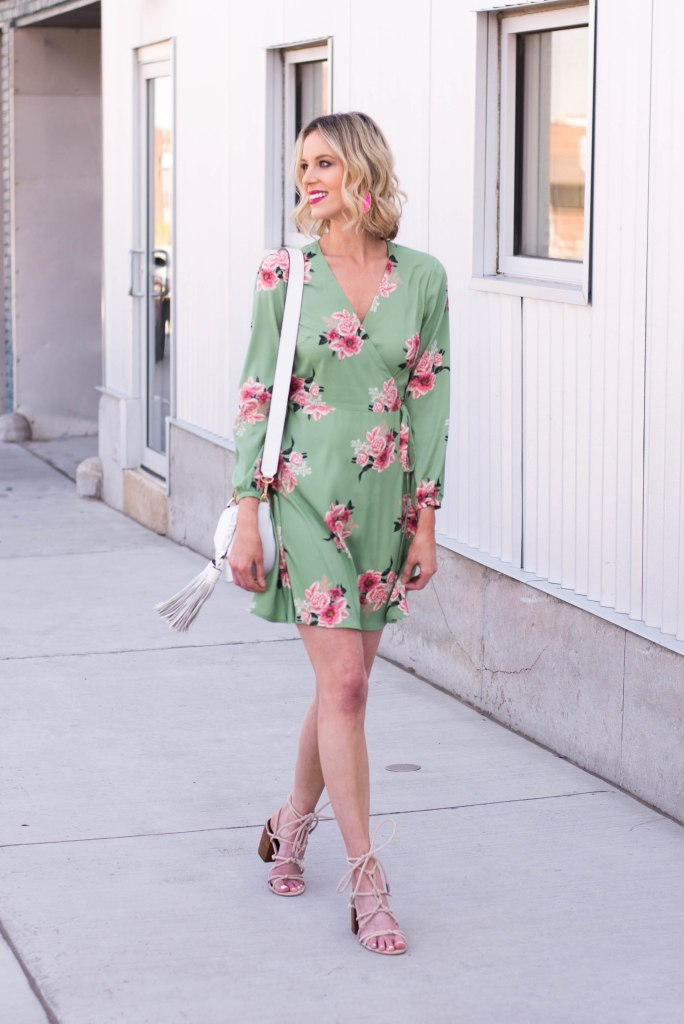 floral wrap dress with lace up sandals