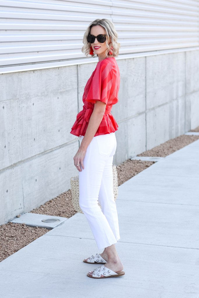 crop jeans for summer with red peplum top
