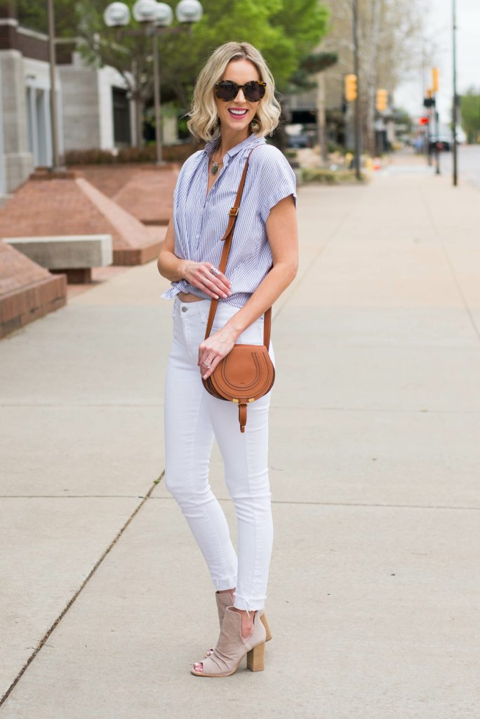white jeans with tied button front shirt