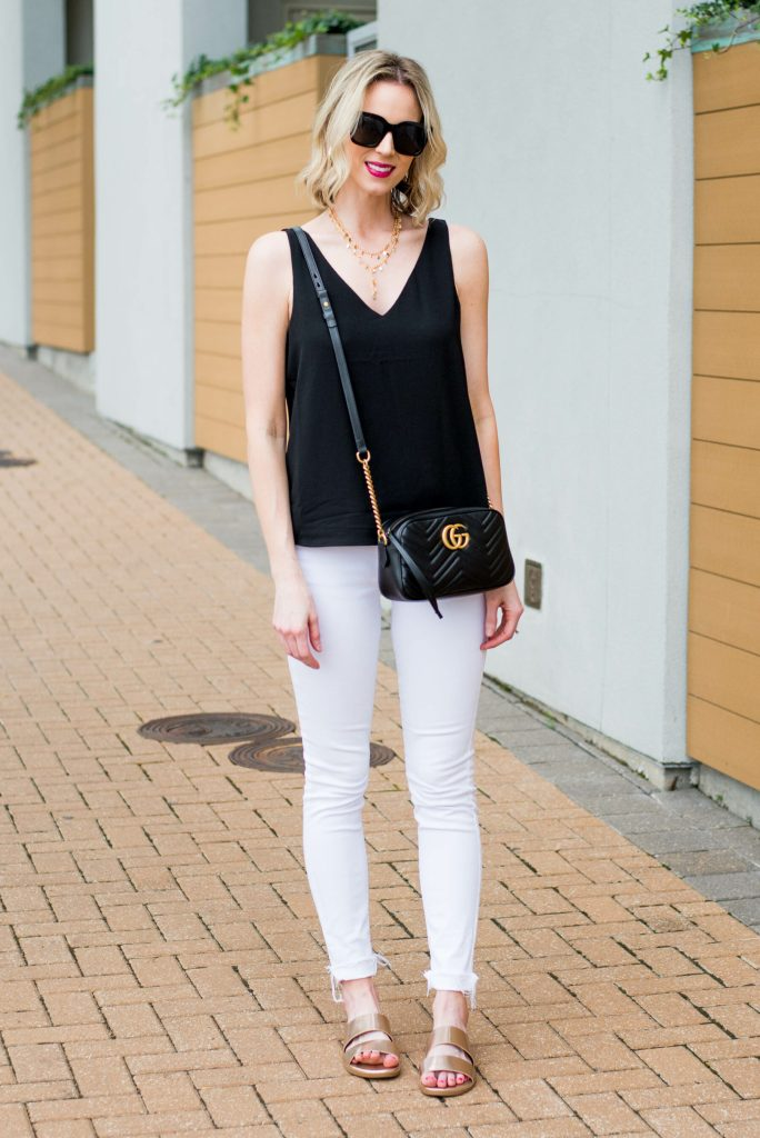 white jeans with black tank top
