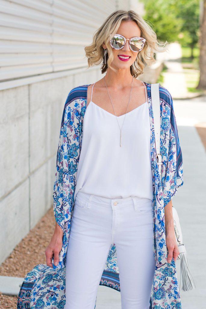 pretty kimono over all white outfit
