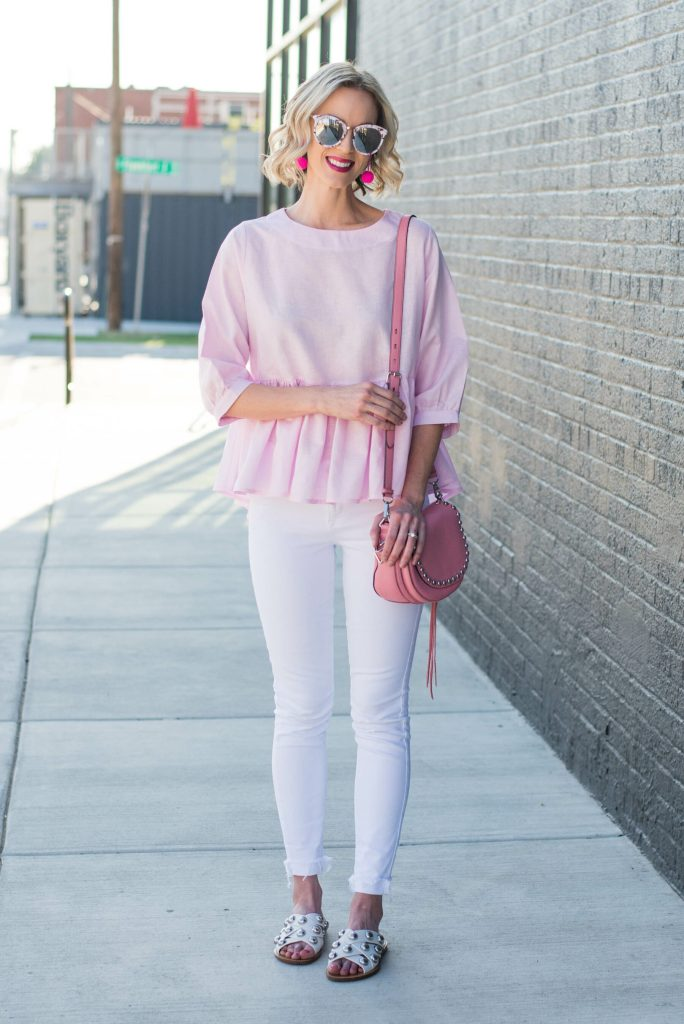 pink peplum top with white and pink accents