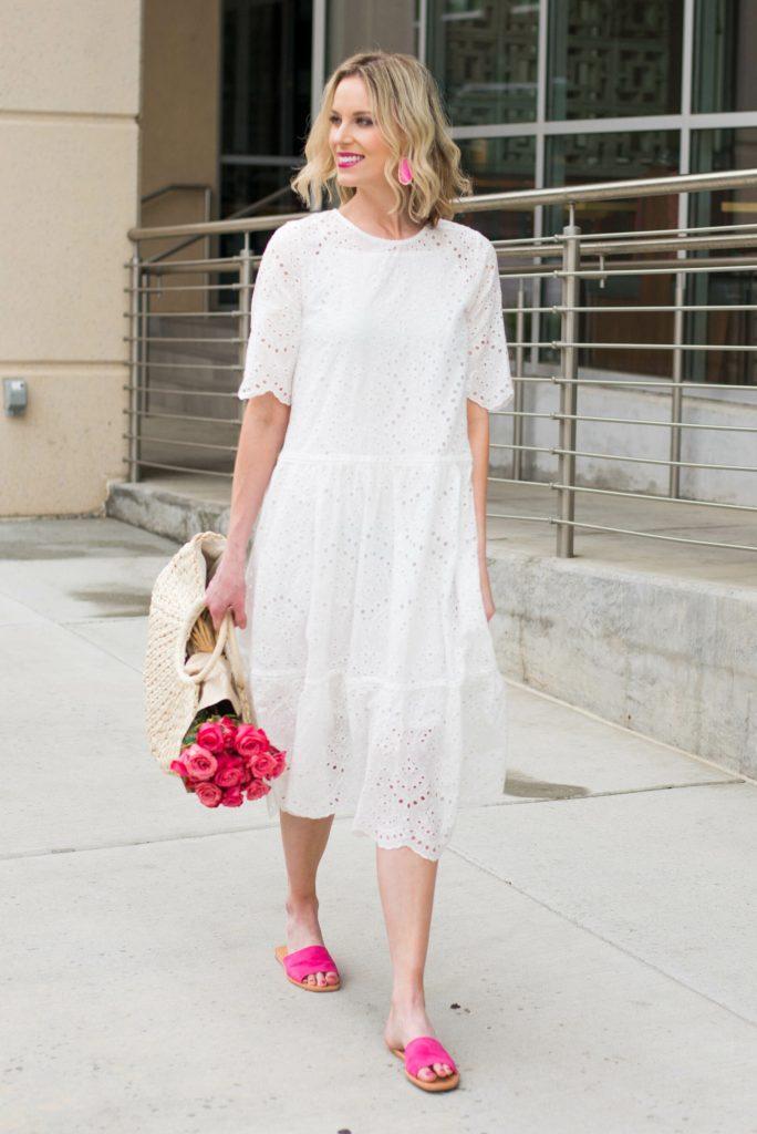 white midi dress with pink slides