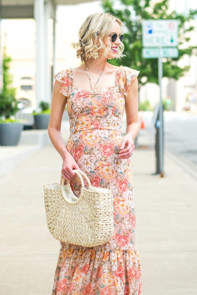 floral dress with straw bag
