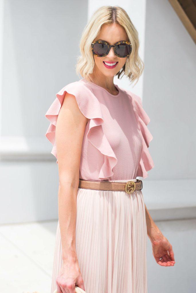 blush pink bodysuit with ruffle detailing