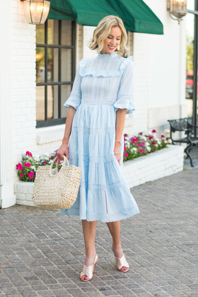 perfect spring and summer dress, light blue eyelet midi dress