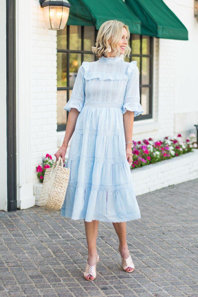 gorgeous light blue lace midi dress