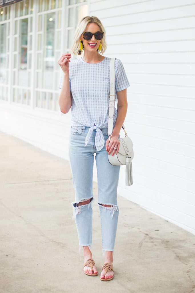 gingham tie front top with straight Levi's