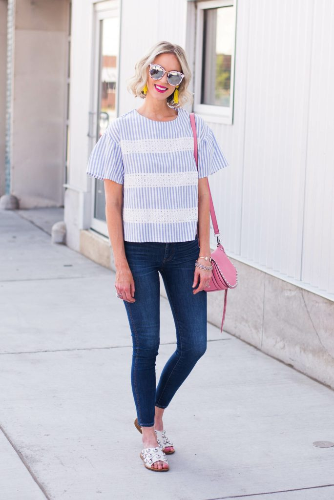 blue and white stripes with fun colored accessories