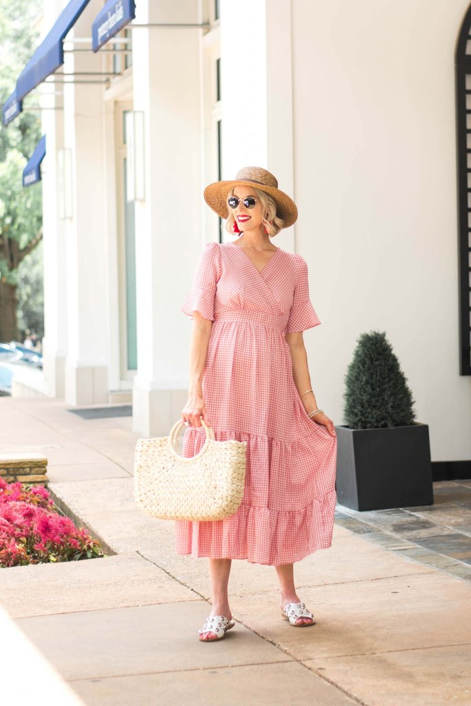 straw hat and bag with summer dress