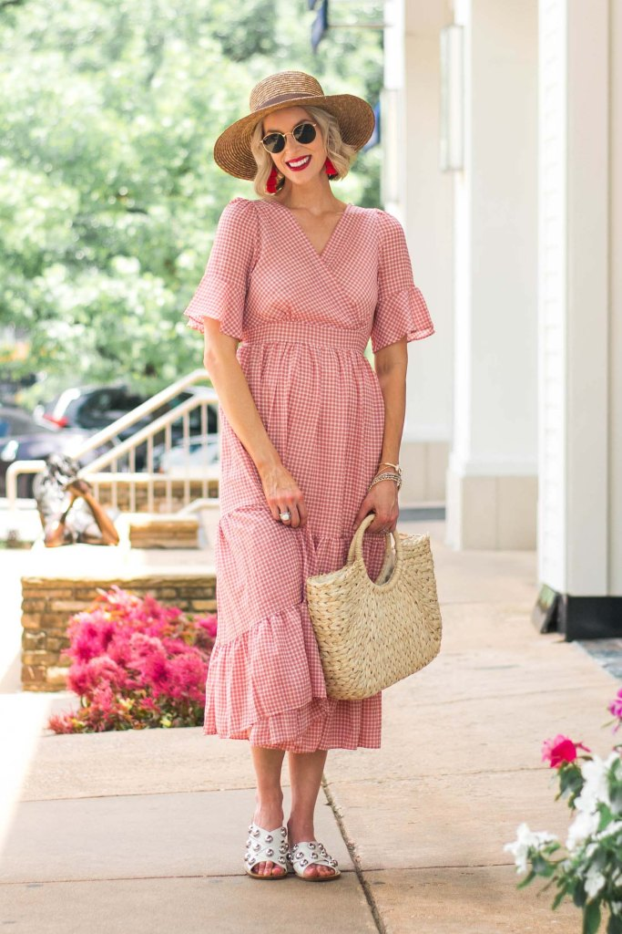 tiered gingham midi dress