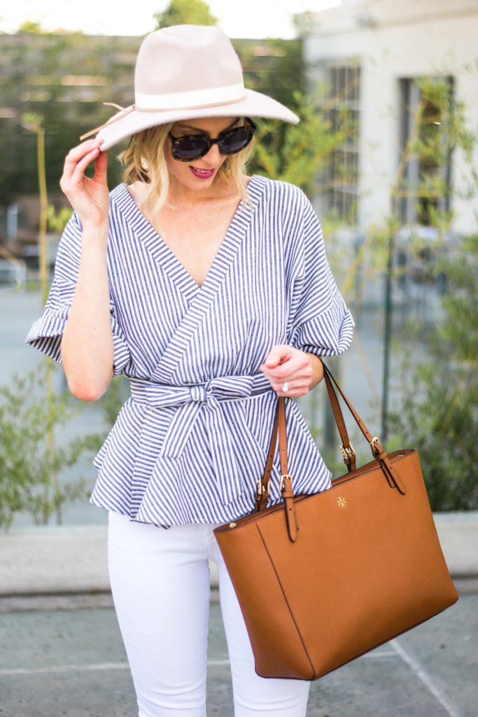 striped kimono top and hat