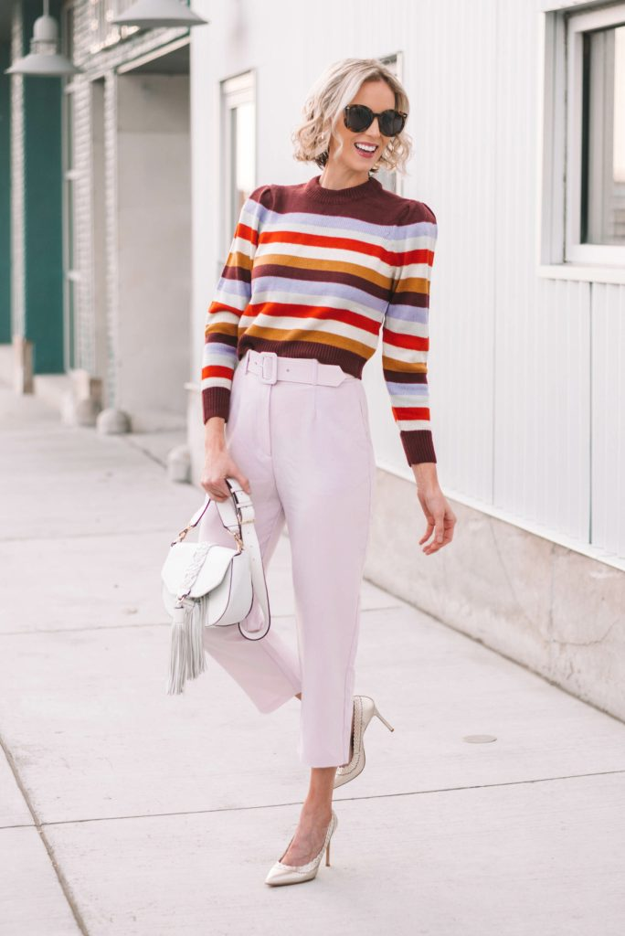 lavender pants and striped sweater