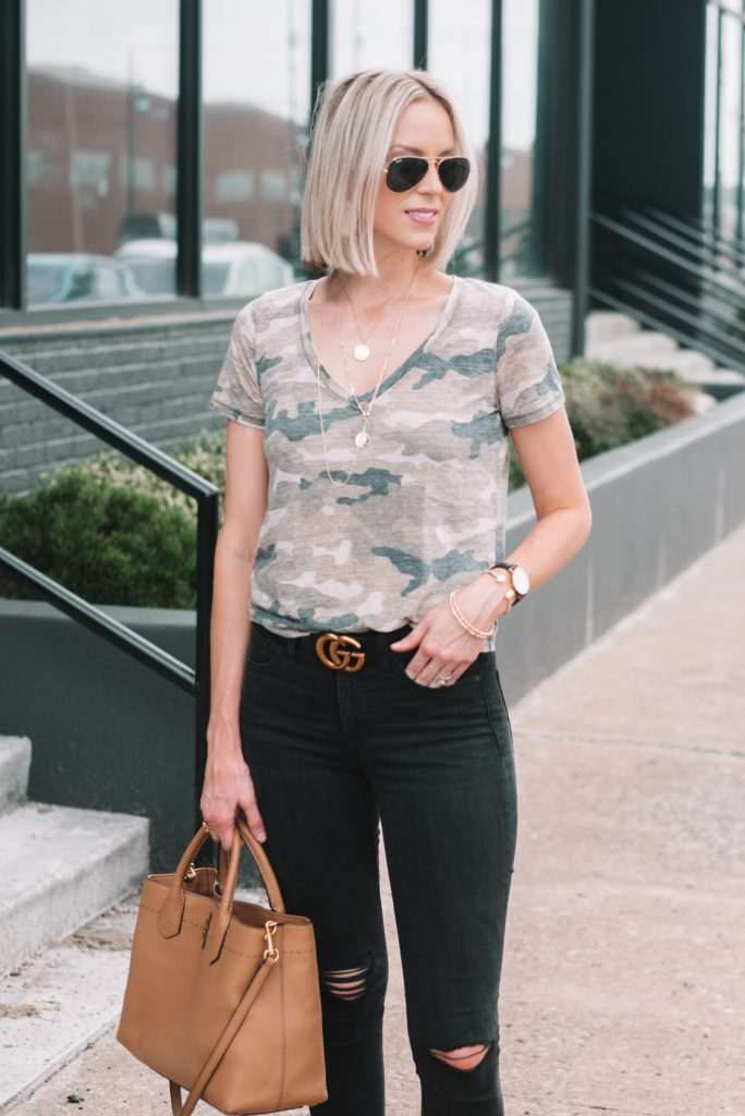 straight blonde long bob, edgy casual outfit