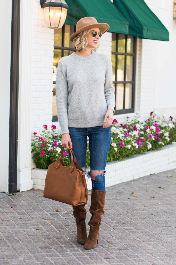 classic grey crew neck sweater - so soft! paired with jeans and the prettiest suede slouchy boots #classic #crewnecksweater #tallboots #suedeboots
