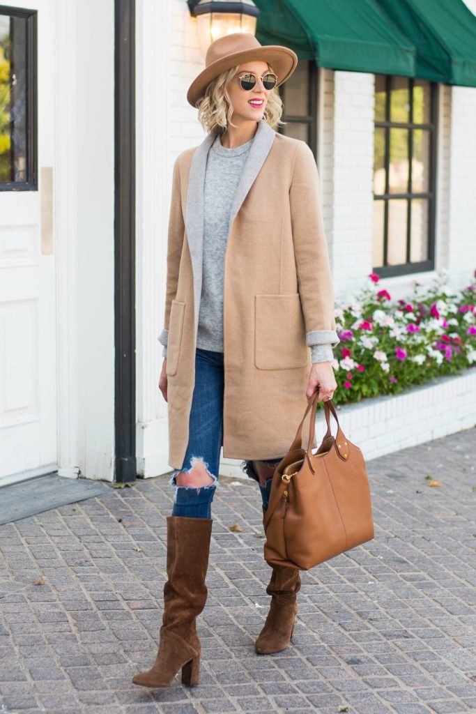 gorgeous reversible tan and grey coat