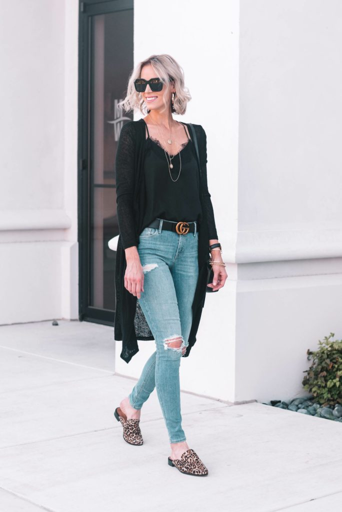 black lace cami with duster cardigan and jeans