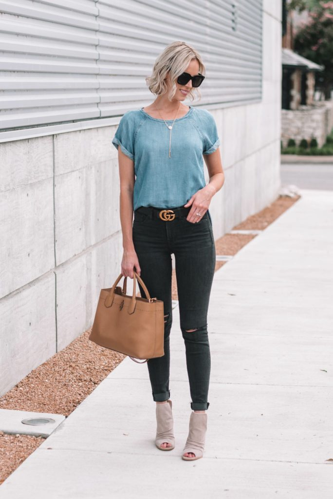 double denim with black jeans and chambray shirt