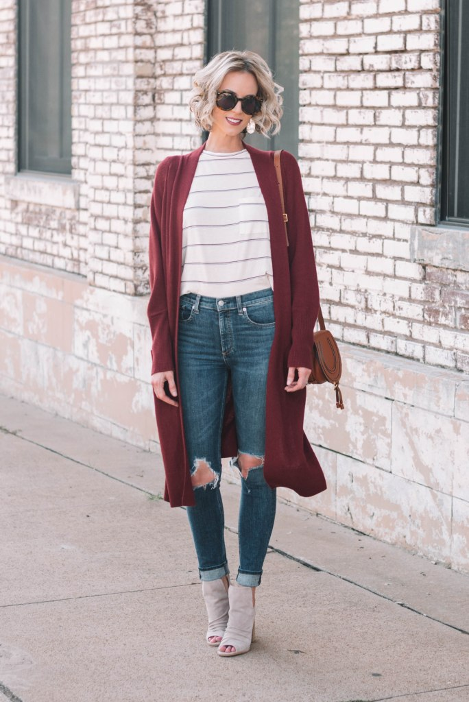 easy fall layers - t-shirt under long cardigan
