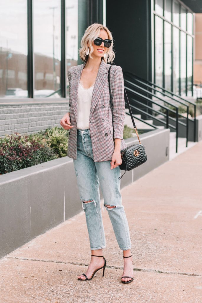 plaid blazer and boyfriend jeans with heels