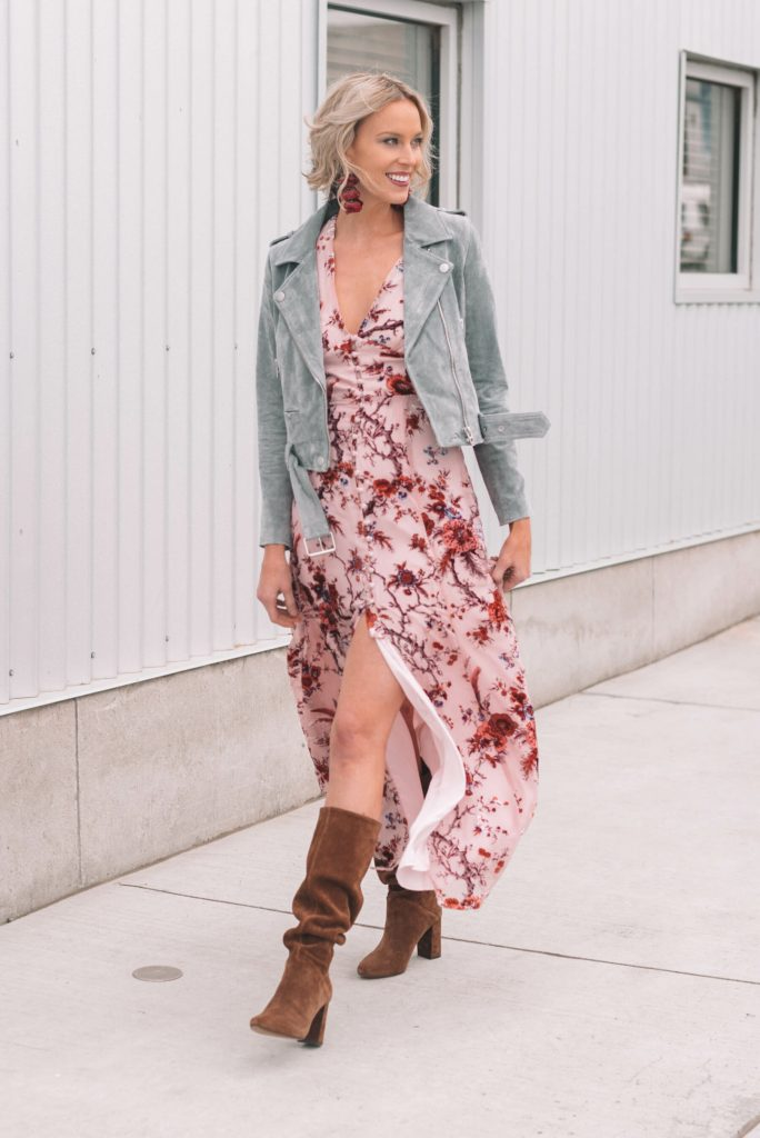 maxi dress with boots and moto jacket