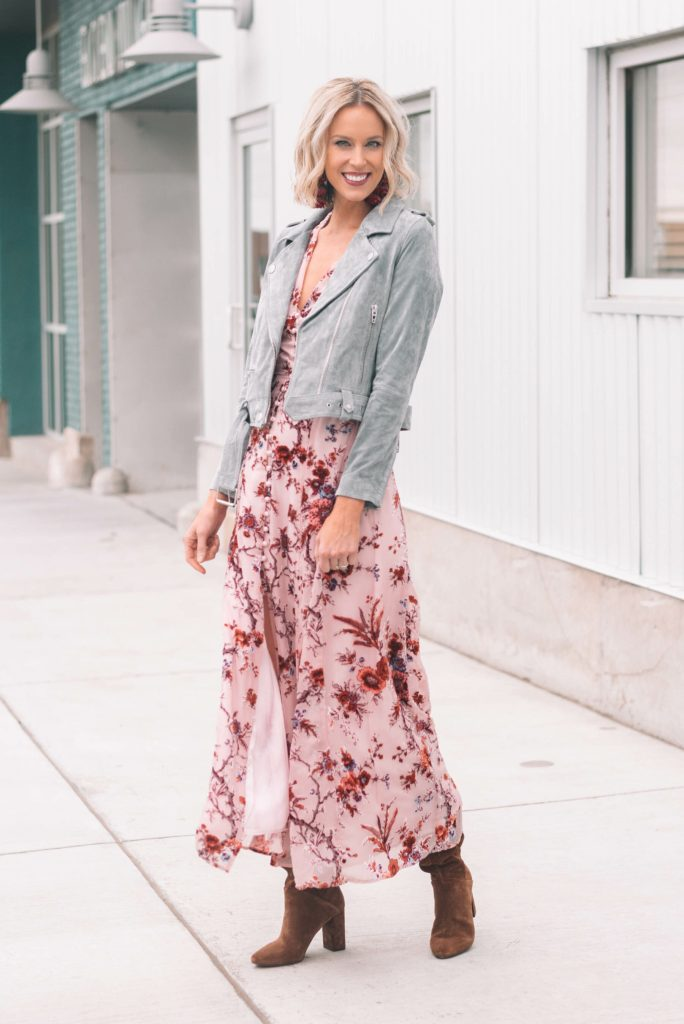 fall floral dress with suede jacket and boots