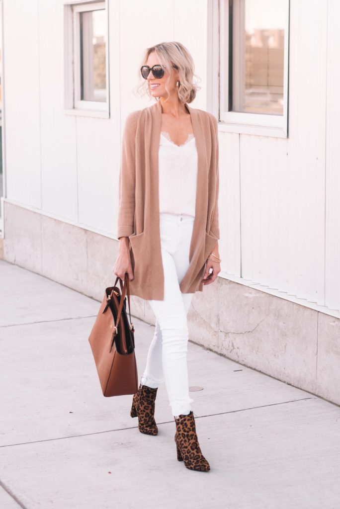 white and tan outfit for fall