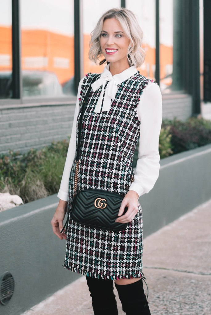classic tweed dress with white blouse