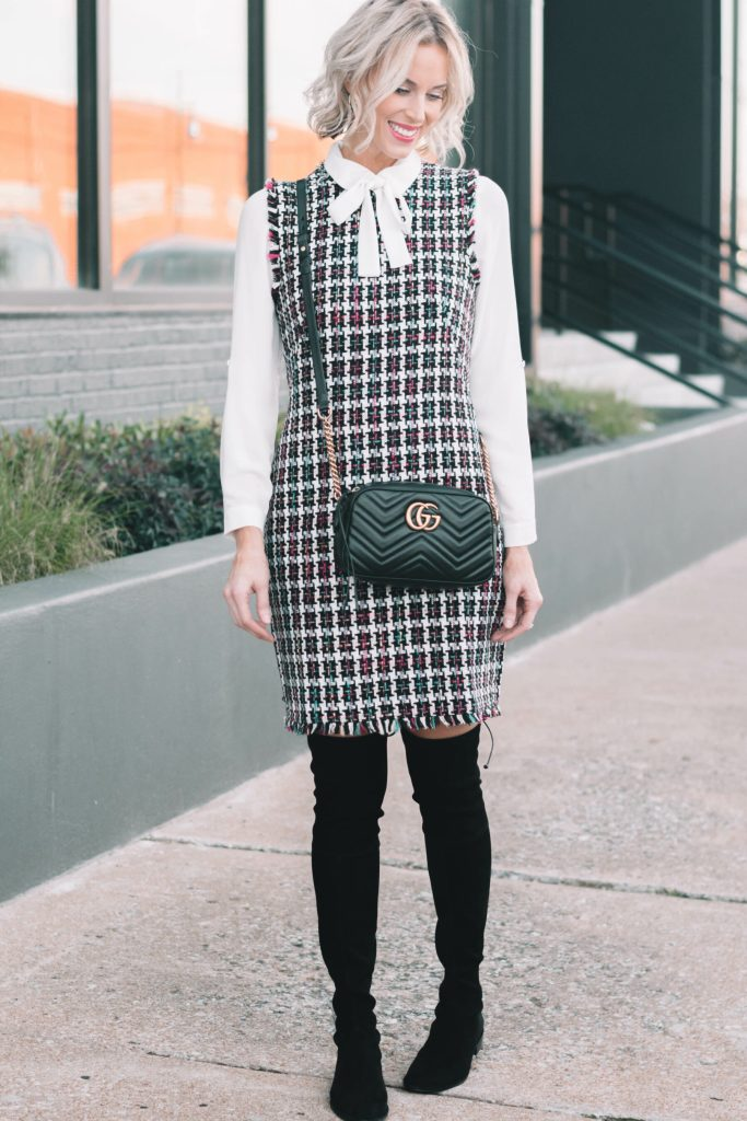 tweed sheath dress with white bow blouse and over the knee boots
