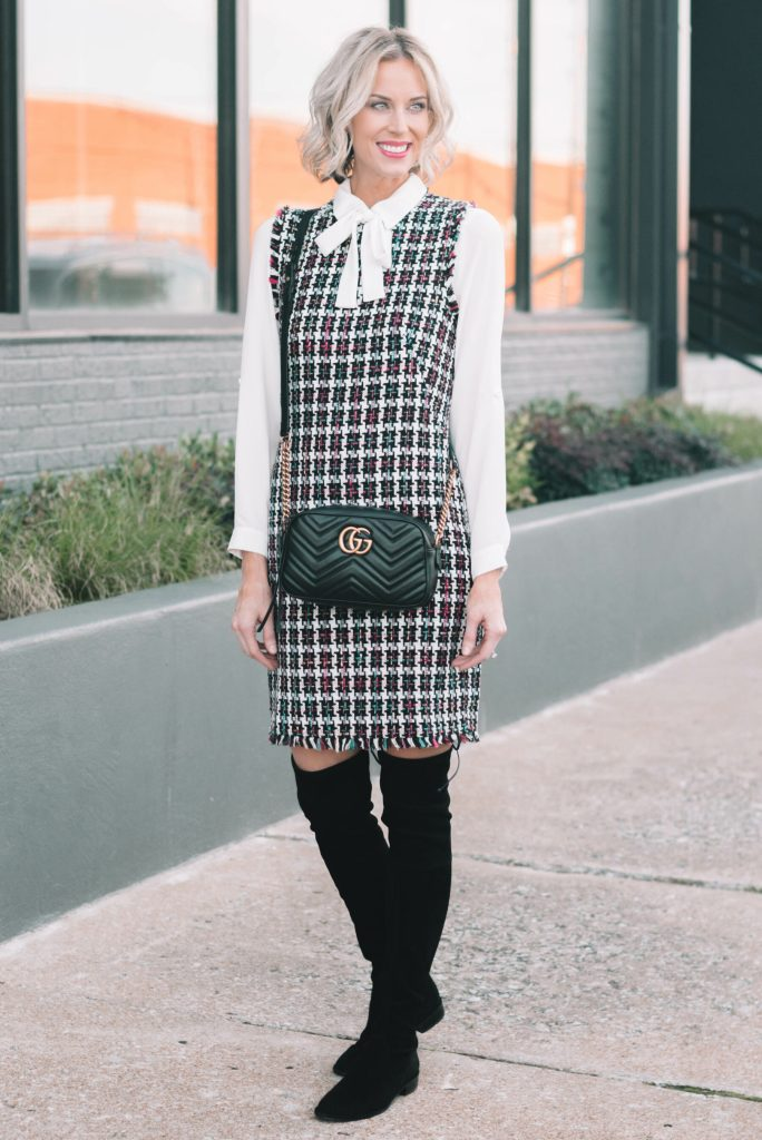 tweed dress with over the knee boots for fall