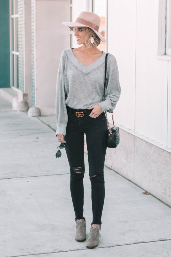 cute casual thermal top and jeans
