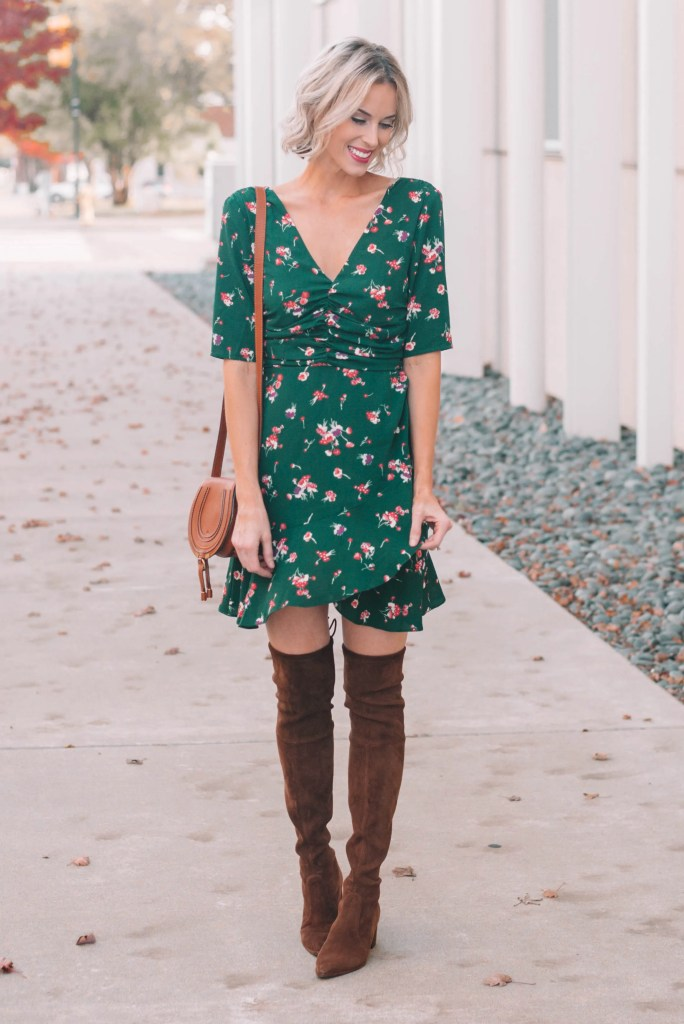 beautiful green mini dress with over the knee boots