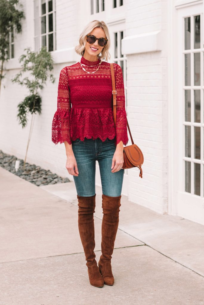 burgundy lace peplum blouse with jeans and over the knee boots