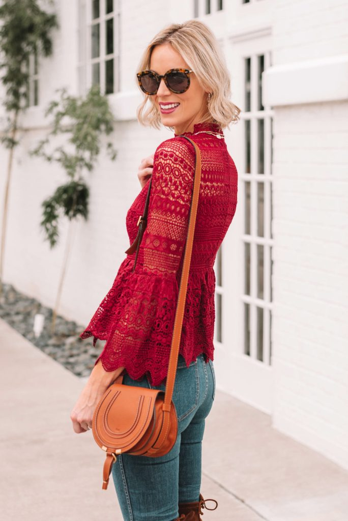 burgundy lace peplum top with bell sleeves