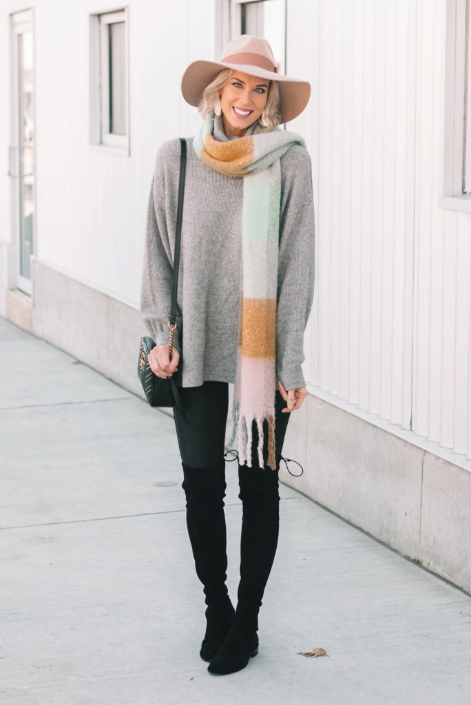 tunic sweater with leggings, over the knee boots, and scarf