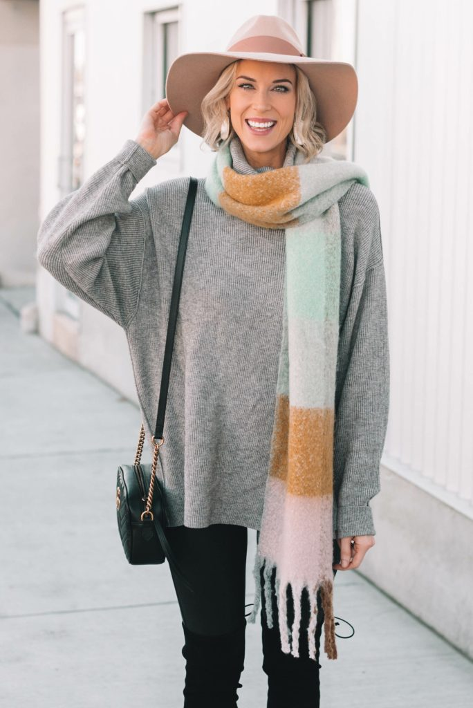 adorable hat with scarf and tunic sweater