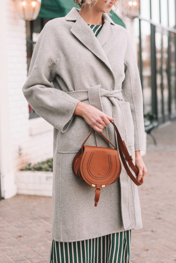 classic belted grey wool coat